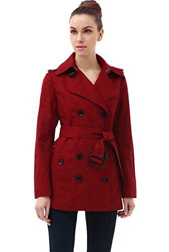 BGSD Women's Evelyn Classic Hooded Short Trench Coat
