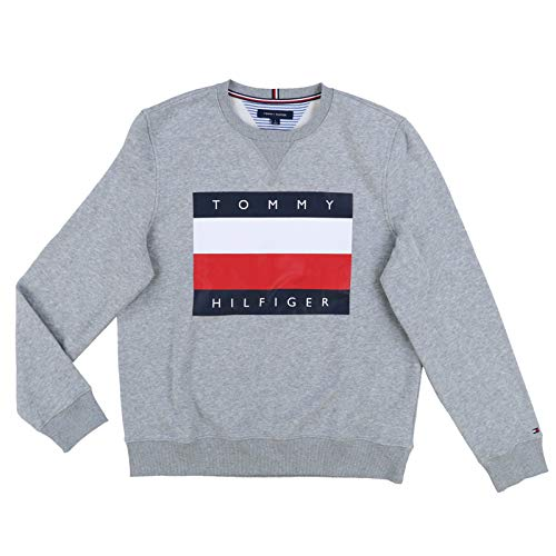 Tommy Hilfiger Mens Logo Sweatshirt (Small, Gray)