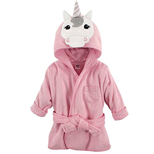 Hudson Baby Animal Face Hooded Bathrobe, Unicorn