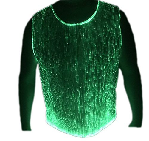 Fiber Optic T Shirt for Men LED Light up Dance Wear Glow
