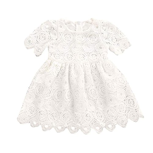 BELS Baby Girls Princess Dress Lace Flower White Party Wedding Summer Dress