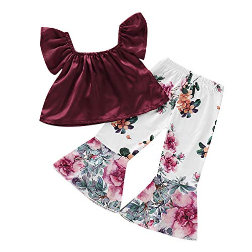 YOUNGER TREE 2PCS Toddler Kids Baby Girls Off Shoulder Top