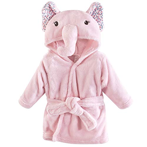 Little Treasure Plush Bathrobe, Floral Elephant, 0-9 Months