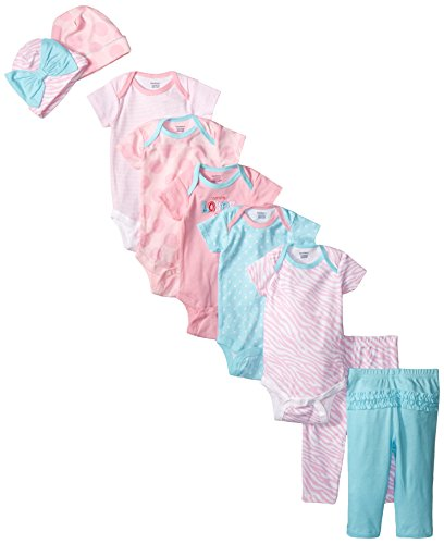 Gerber Baby-Girls Newborn Flowers 9 Piece Playwear Bundle