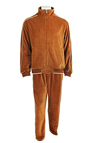 Sweatsedo Burnt Orange Mens Velour Tracksuit