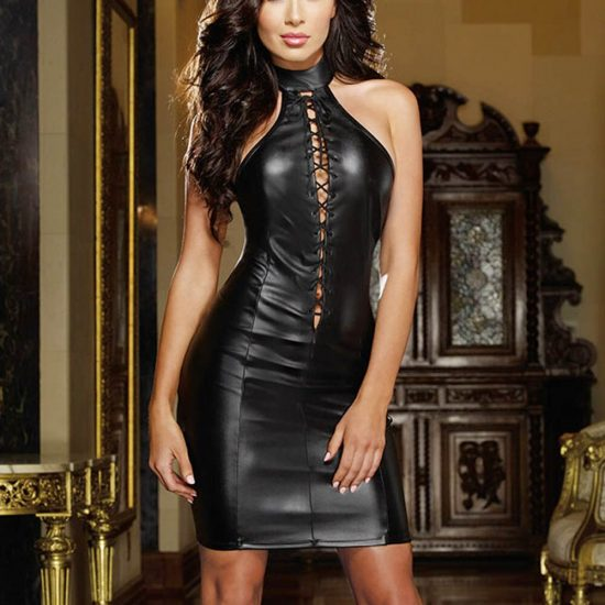 Black Faux Leather Bandage Party Dress Halter Off Shoulder