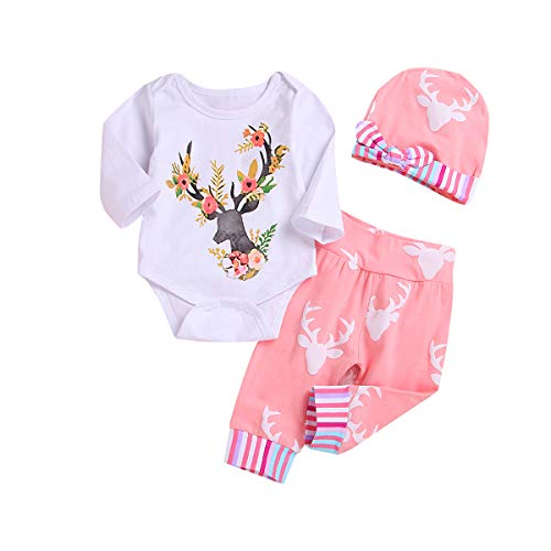 3PCS Newborn Baby Girl Christmas Clothes, Long Sleeve