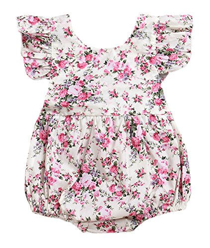 Seven Young Newborn Baby Girls Floral Print Backless Romper Infant Kids