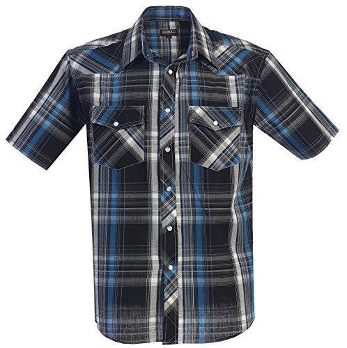 Gioberti Men's Plaid Western Shirt, Turquoise, 3X Large