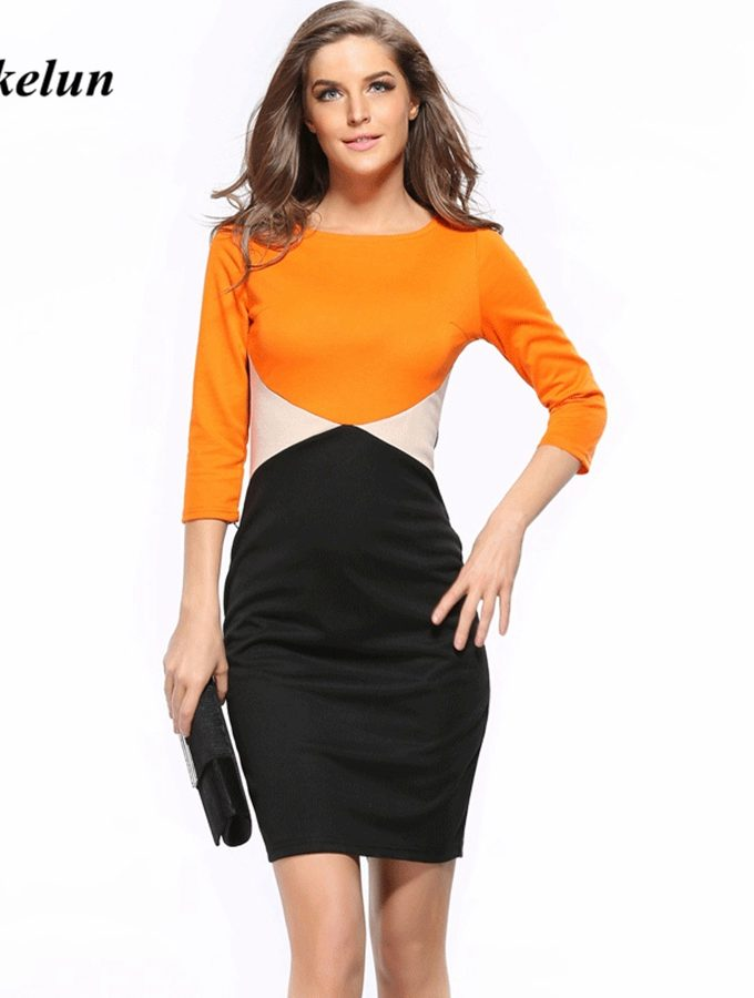 Womens Patchwork Sheath Dress Women Summer Casual