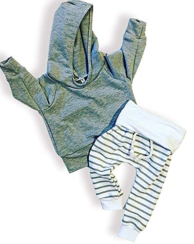 KONIGHT Newborn Baby Boys Girls Grey Hoodie Sweatshirt Top