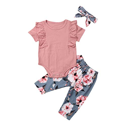 Baby Girls Cotton Ruffle Romper Top Floral Leggings Pants