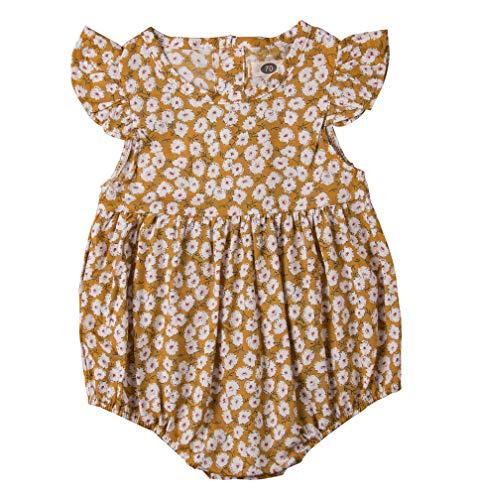 Newborn Baby Girl Romper Floral Print Vintage Jumpsuit Outfit