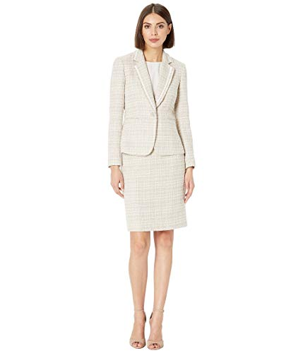 Tahari by ASL Women's Boucle with Frayed Trim Skirt Suit Beige