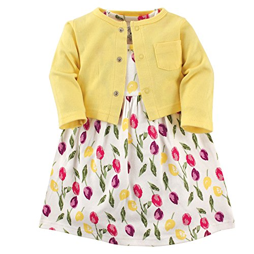 Luvable Friends Dress and Cardigan Set, Tulips, 0-3 Months