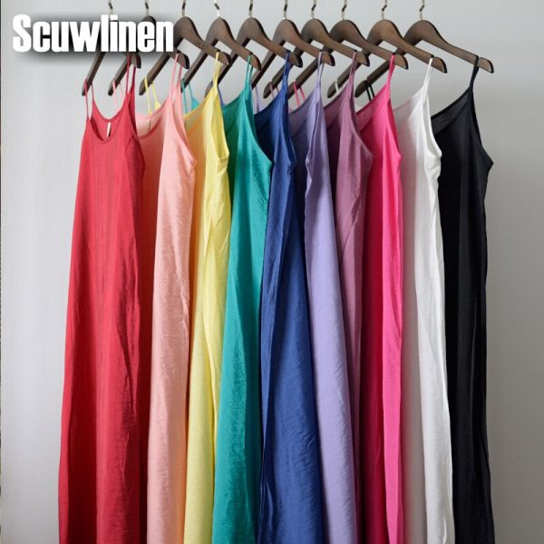 SCUWLINEN Vestidos Summer Dress Solid Multi-Color