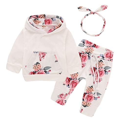 3PCS Newborn Kids Baby Girl Clothes Hooded Sweater Tops+Floral Pants
