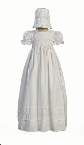 Girls Cotton Christening Gown Dresses with Bonnet Set