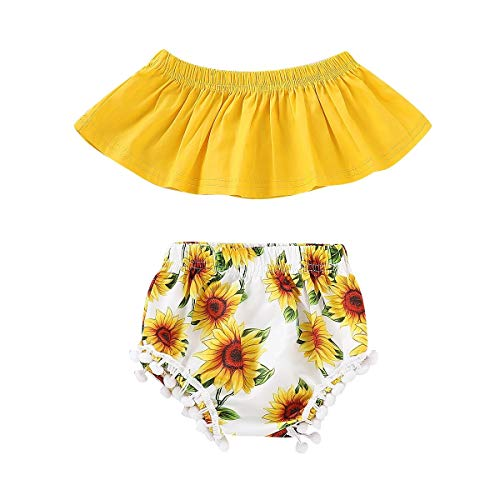 2Pcs/Set Newborn Infant Baby Girl Off Shoulder Crop Tops+Sunflower