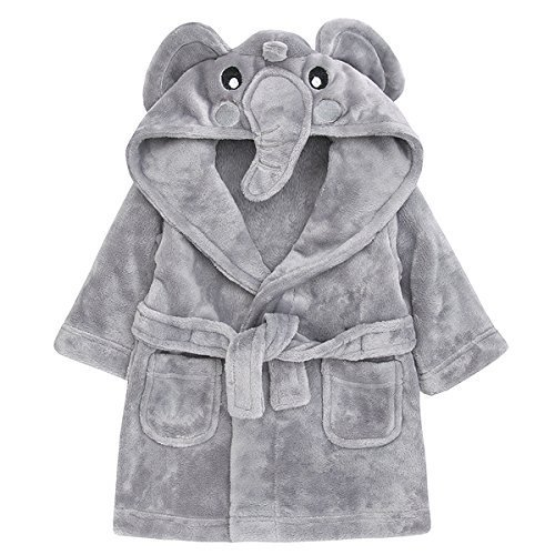 Childrens/Toddlers Soft Fleece Dressing Gown with Animal Hood