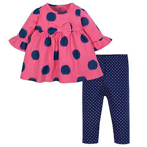 Gerber Baby Girls' Dress and Legging Set, Spots 24 Months