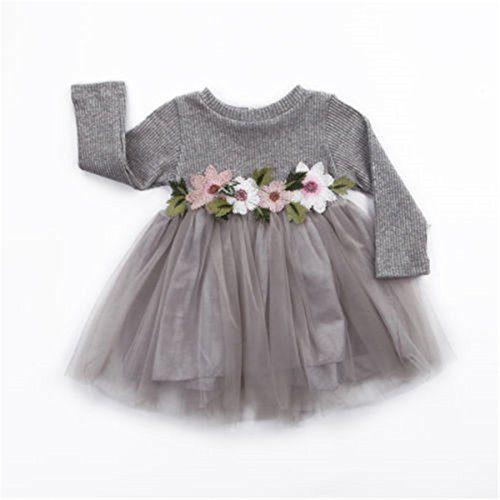 Toddler Kids Girls Fall Jersey Dress Long Sleeve Floral Tulle Cap Tutu Dresses
