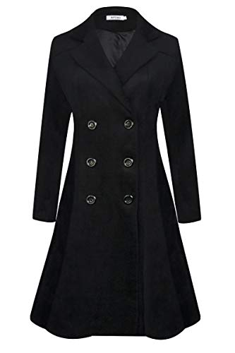 APTRO Women's Winter Trench Coat Long Lapel Double Breasted Wool