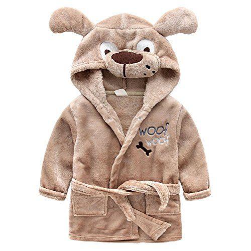 Baby Boys Robe Animal Coral Fleece Bathrobe Unisex Kids Hooded Sleepwear