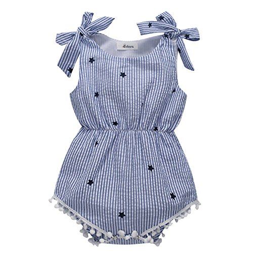 BOBORA Newborn Baby Girls Rompers One-Pieces Pompom Bow