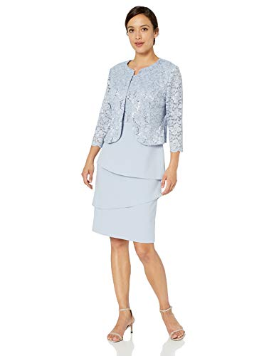 Alex Evenings Women's Asymmetric Tiered Skirt and Jacket
