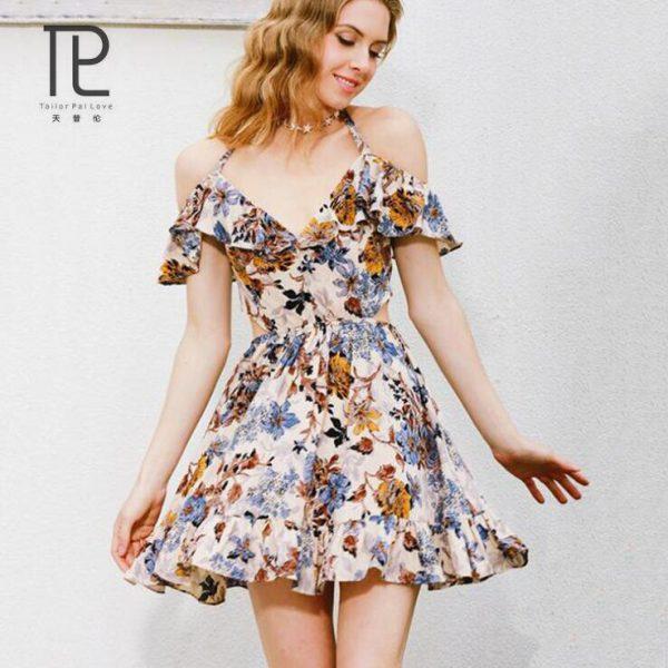 Tailor Pal Love Summer Dress Ruffle V-nect Women Dress