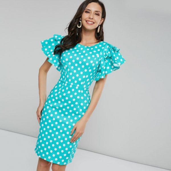 Sisjuly Women Summer Dress Bodycon Blue White Polka Dot