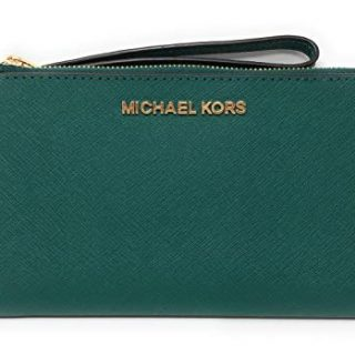 Michael Kors Jet Set Travel Double Zip Saffiano Leather Wristlet Wallet