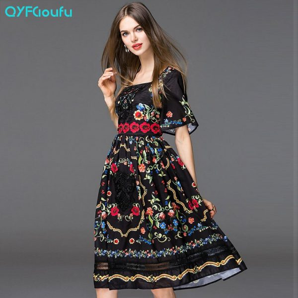 QYFCIOUFU Fashion Runway Summer Dress Women's Short Sleeves
