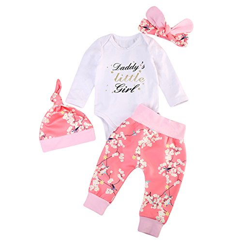 Emmababy Newborn Baby Daddy's Little Girl Bodysuit Jumpsuit Floral Pants