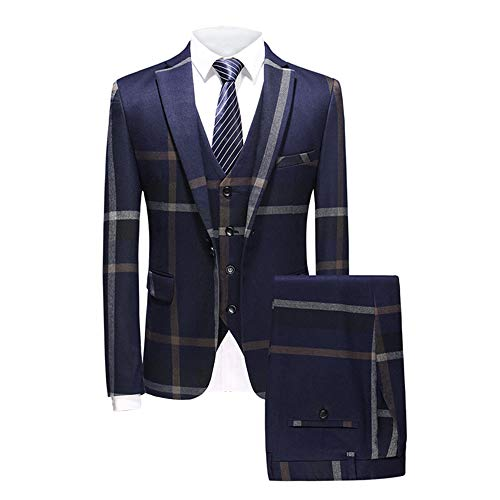 MAGE MALE Men's Plaid Suit Slim Fit 3-Piece Suit