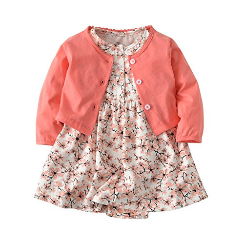 Baby Girls Dress Set Long Sleeve Coat + Floral Toddler Romper Dresses
