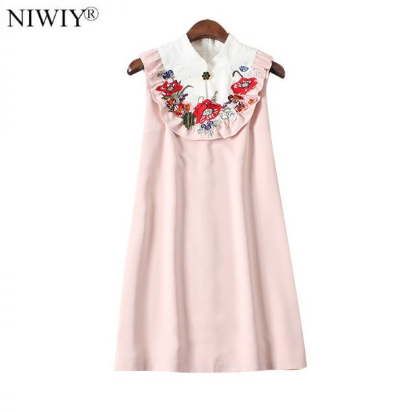 NIWIY Brand Floral Embroidered Summer Dress Robe