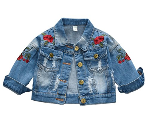 Kids Baby Girls Floral Embroidered Denim Jacket Casual