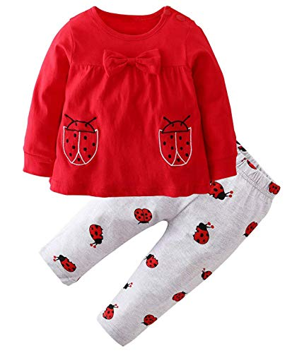 Happy Town 2Pcs Baby Girls Clothes Set Ladybug Pattern Long Sleeve