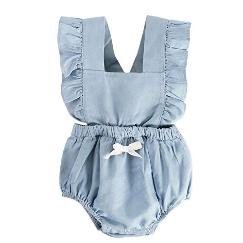 BubbleColor Baby Girl Romper Ruffle Sleeve Jumpsuit Playsuit