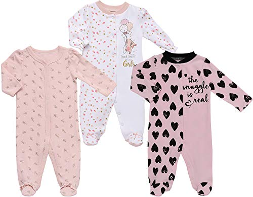 Mini B. by Baby Starters 3-Pack Sleep and Play Layette Set- Pink