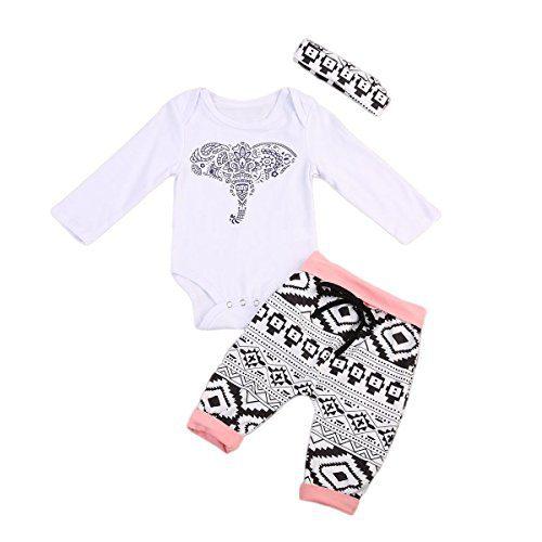 3Pcs/Set Newborn Baby Girl Boy Long Sleeve Elephant Bodysuit