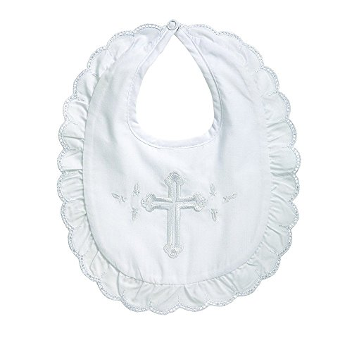 Elegant Baby Premium Embroidered Infant Girls Christening Baptism Bib