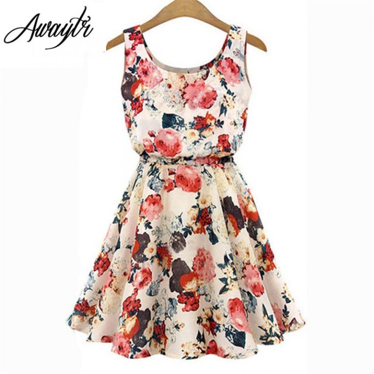 Women Summer Dress 19 AWAYTR Brand Boho New Apricot Sleeveless