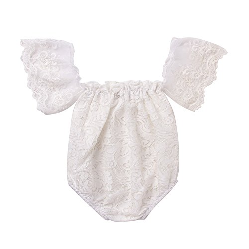 Mikrdoo Newborn Infant Baby Girl Flower White Lace Off Shoulder Romper