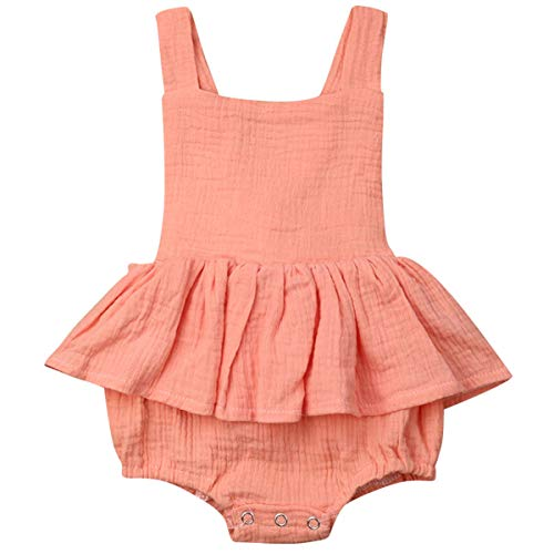 Newborn Baby Girls Sleeveless Ruffled Romper Bodysuit