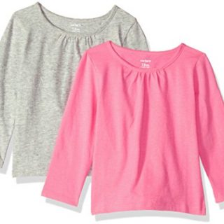 Carter's Baby Girls' 2-Pack Long-Sleeve Tee, Grey/Bright Pink