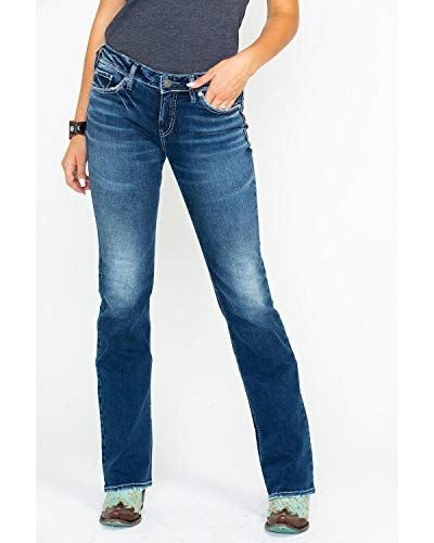 Silver Jeans Co. Women's Suki Curvy Fit Mid Rise Slim Bootcut Jeans