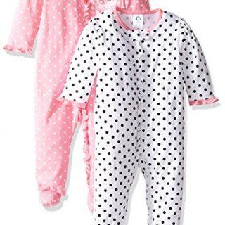 Gerber Baby Girls' 2 Pack Zip Front Sleep 'n Play,Elephants/Flowers